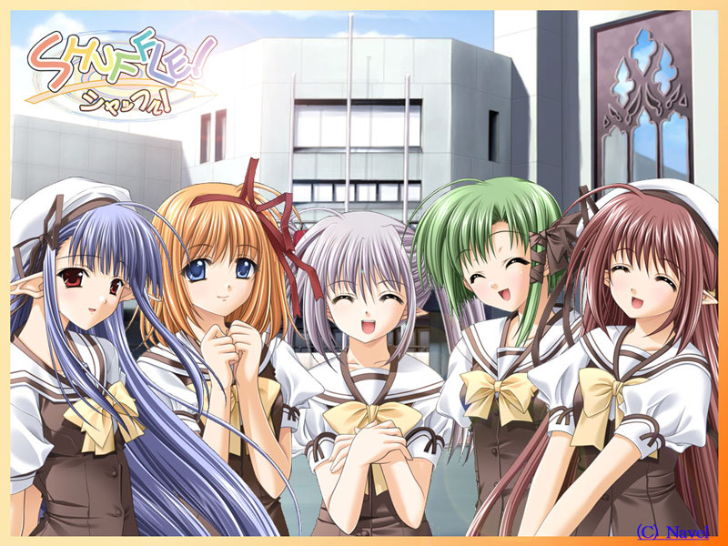 The girls of Shuffle! From the left: Nerine, Kaede, Primula, Asa, and Sia